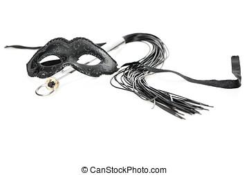 negro, blanco, máscara, látigo, plano de fondo
