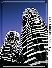 negro, blanco, silhouett, edificio