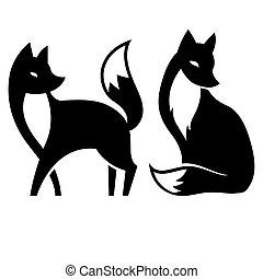 negro, blanco,  vector, zorro, aislado