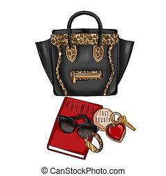 negro, bolsa, raster, ilustración