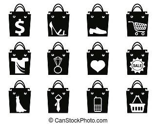 negro, bolso de compras, iconos, conjunto