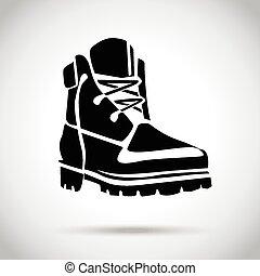 negro, bota, icono