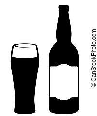 negro, botella de cerveza, con, vidrio
