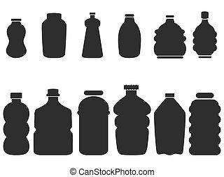 negro, botella plástica, conjunto