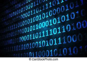 negro, brillante, plano de fondo, código, binario, azul