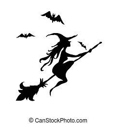 negro, bruja, y, dos, murciélagos, silueta
