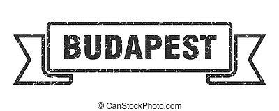 negro, budapest, señal, ribbon., grunge, banda