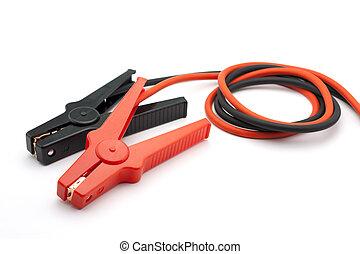 negro, cables, puente rojo