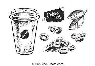 negro, café blanco, papel, conjunto, ilustración