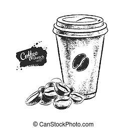 negro, café blanco, papel, ilustración, taza