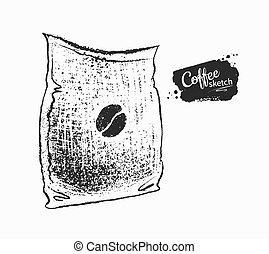 negro, café blanco, saco, ilustración