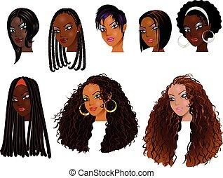 negro, caras, mujeres