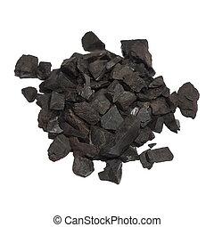 negro, carbón, aislado, blanco
