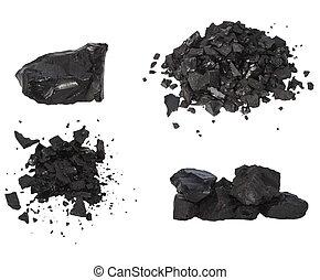 negro, carbón, aislado, pila, blanco