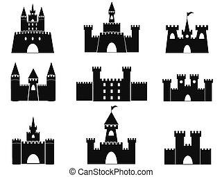 negro, castillo, iconos