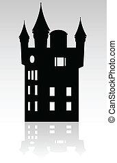 negro, castillo, silueta