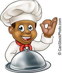 negro, chef, caricatura, carácter, mascota