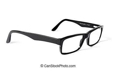 negro, clásico, ojo, aislado, anteojos