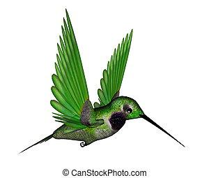 negro, colibrí, -, 3d, render