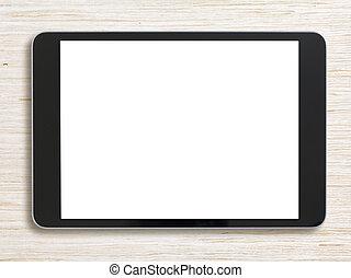 negro, computadora personal tableta, en, blanqueado, madera, plano de fondo