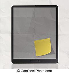 negro, computadora personal tableta, en, papel arrugado, y, nota pegajosa, como, concepto