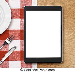 negro, computadora personal tableta, en, tabla de cena, con, pantalla en blanco