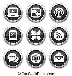 negro, comunicación, botones
