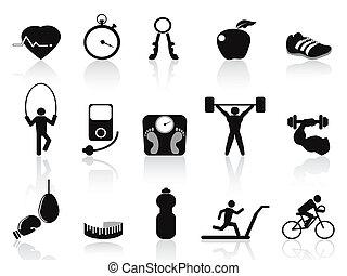 negro, condición física, iconos, conjunto