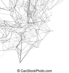 negro, conectado, líneas, en, white., resumen, plano de...