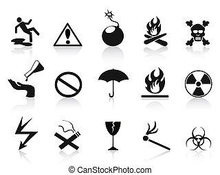 negro, conjunto, advertencia, iconos