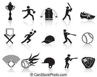 negro, conjunto, beisball, iconos