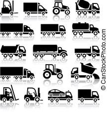 negro, conjunto, camión, iconos