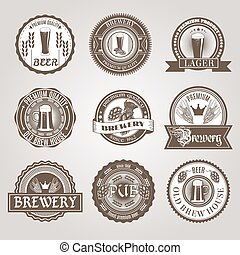 negro, conjunto, cerveza, etiquetas