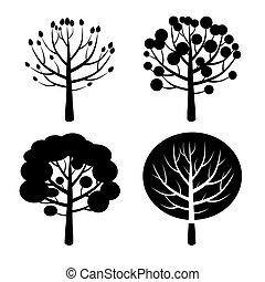 negro, conjunto, de, árbol.