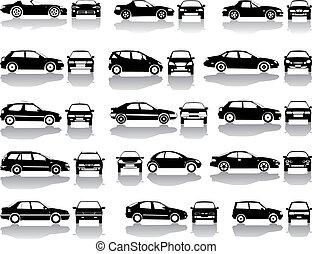 negro, conjunto, de, coches, vector