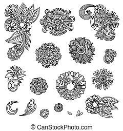 negro, Conjunto, diseño, flor