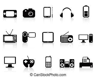 negro, conjunto, electrónico, objetos, iconos