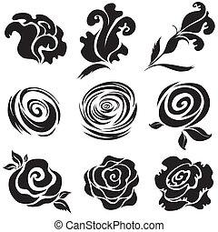 negro, conjunto, flor, rosa
