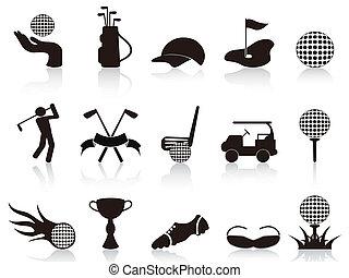 negro, conjunto, golf, iconos
