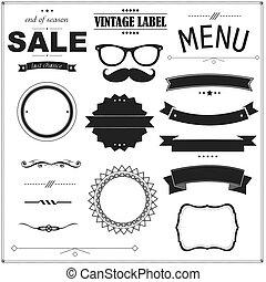 negro, conjunto, insignias, vendimia