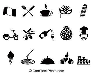 negro, conjunto, italia, iconos