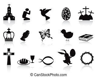 negro, conjunto, pascua, iconos