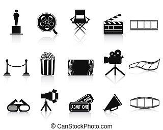 negro, conjunto, películas, iconos