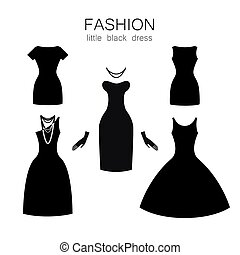 negro, conjunto, vestido