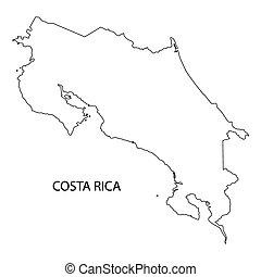 negro, contorno, de, costa rica, mapa