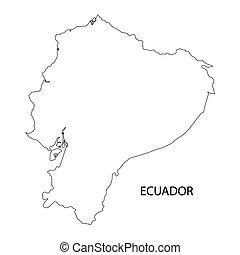 negro, contorno, de, ecuador, mapa