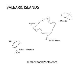 negro, contorno, de, islas balearas, mapa