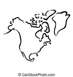 negro, contorno, de, norteamérica