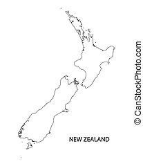 negro, contorno, de, nueva zelandia, mapa