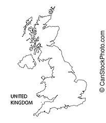 negro, contorno, de, reino unido, mapa